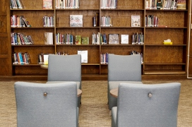 mcauliffe library seating with backpack hook